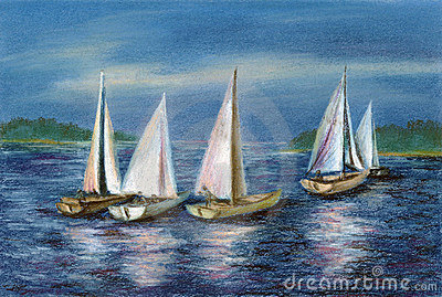 Pastel: yachts by the Obsky sea