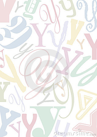 Pastell colored letter Y