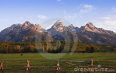 A pastoral scene at the base of the Tetons