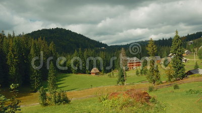 Pastoral Scene in the Romanian Countryside on an Sunny Day - Wide Angle. A wide angle pastoral scene in the Romanian countryside on a sunny day stock video