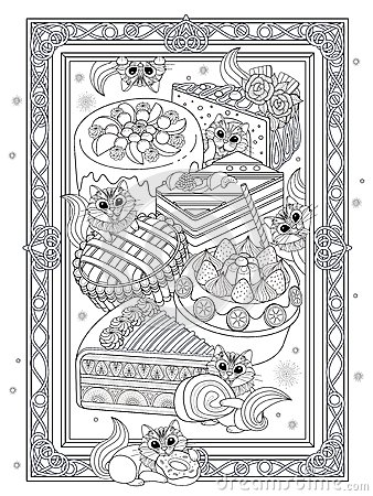 Free Pastries Adult Coloring Page Stock Image - 79778181