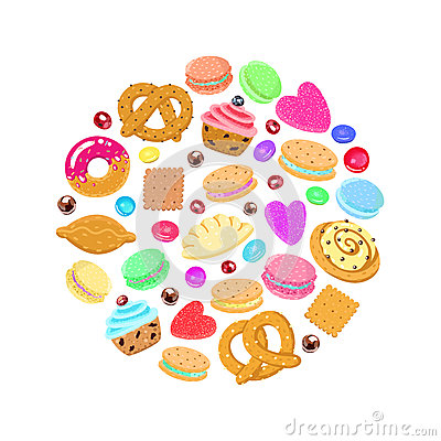 Free Pastries, Sweets And Candies Vector Circle Background Stock Photography - 55766252