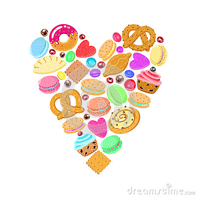 Free Pastries, Sweets And Candies Vector Heart Background Royalty Free Stock Photo - 55673635