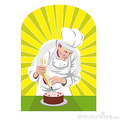 Pastry chef putting icing on cake