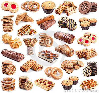 Pastry collection on white