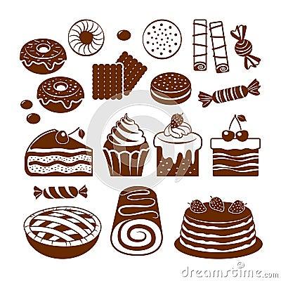 Pastry icon set.