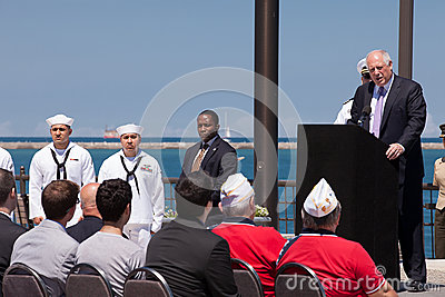 Pat Quinn at USS Illinois Naming Ceremony Editorial Photography