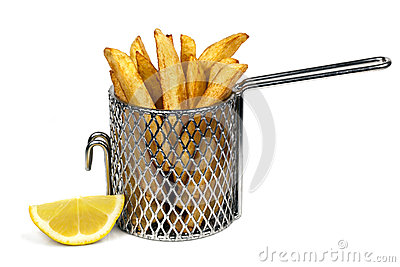 Patata frito adentro la cesta