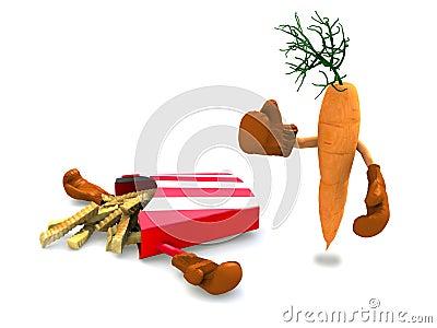 Patatas fritas y zanahoria que luchan