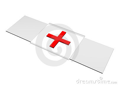 Patch Red Cross Bandaid isolated on white Editorial Stock Photo