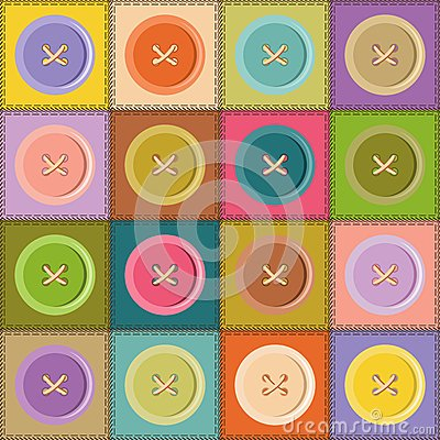 patchwork background with buttons