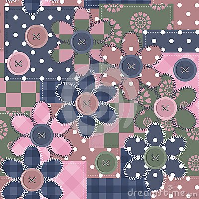 Patchwork background with different patterns and f