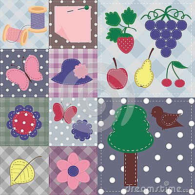 patchwork background with different scrapbook obj