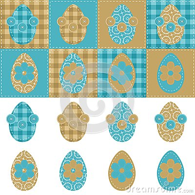 Patchwork background with eggs and flowers