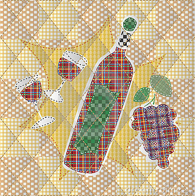 Patchwork of bottle and a glass of wine