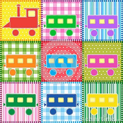 Patchwork with colorful train