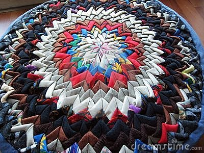 Patchwork cushion made of triangle patches