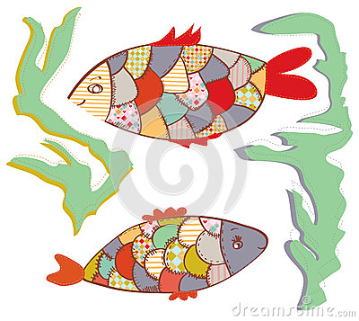 Patchwork fishes  in the water funny
