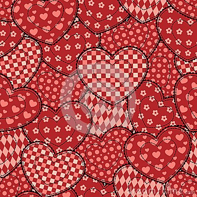 Patchwork hearts seamless beautiful pattern.