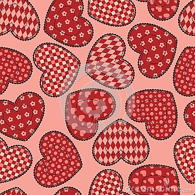 Patchwork hearts seamless pattern.