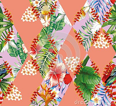 Free Patchwork Of Tropical Flowers And Leaves Royalty Free Stock Photos - 81723868