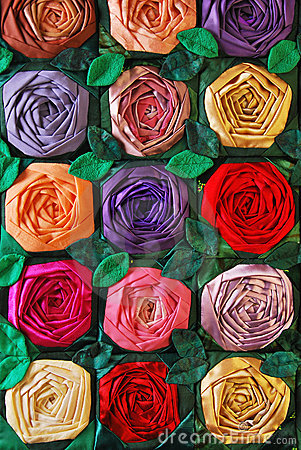 Patchwork quilt with flowers