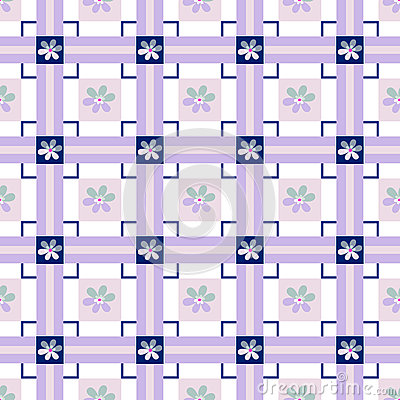 Patchwork seamless floral checkered pattern background Stock Photo