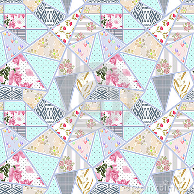 Patchwork seamless floral lace pattern