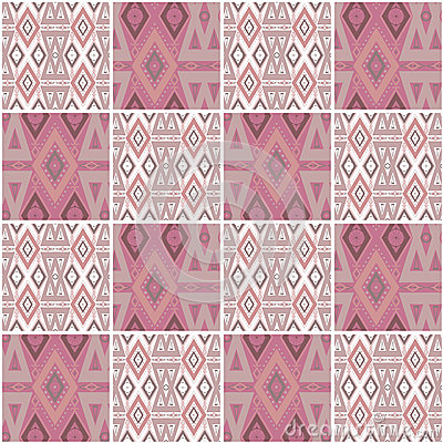 Patchwork seamless geometric folk pattern background