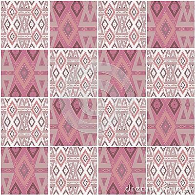 Patchwork seamless geometric folk pattern background