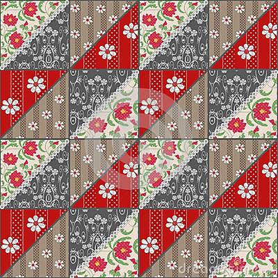 Free Patchwork Seamless Lace Retro Red Flowers Pattern Royalty Free Stock Images - 40173139