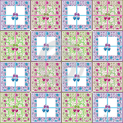 Patchwork seamless retro floral purple green pattern Stock Photo