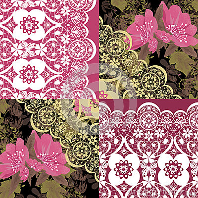 Patchwork seamless white lace retro pink flowers pattern Stock Photo