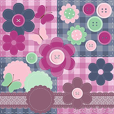 patchwork set with different scrapbook objects
