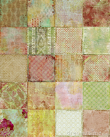 Patchwork of vintage Floral designs Background
