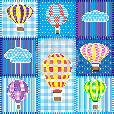 Free Patchwork With Hot Air Balloons Royalty Free Stock Photography - 24664427