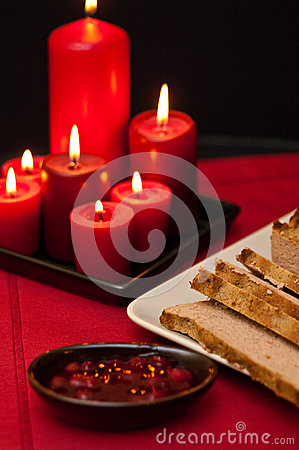 Pate dish with candless