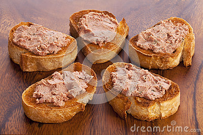 Pate and Toast on a Wooden Board