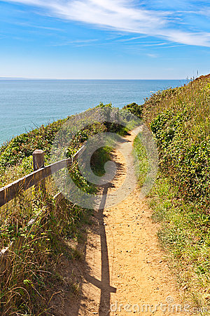 Path along the coastline in carteret, Normandy