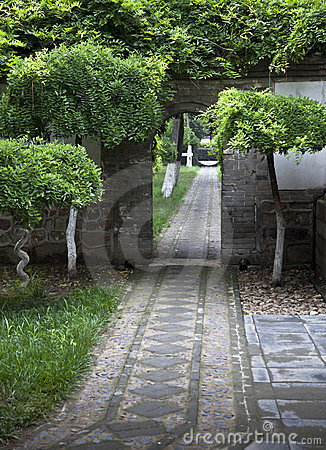 A path and a gate in a temple