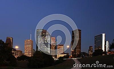 Path leading to the Houston Skyline