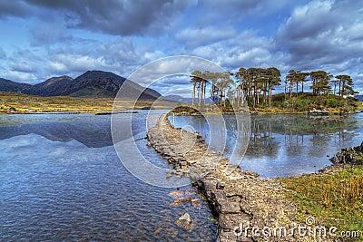 Path to the island on lake of Connemara