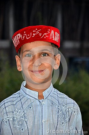 Pathan boy at political rally Pakistan Editorial Image