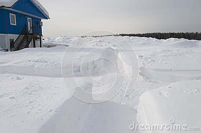 Paths made in deep snow