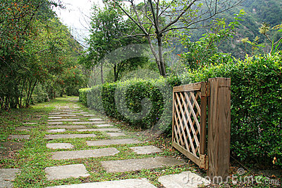 Pathway in garden with wood door