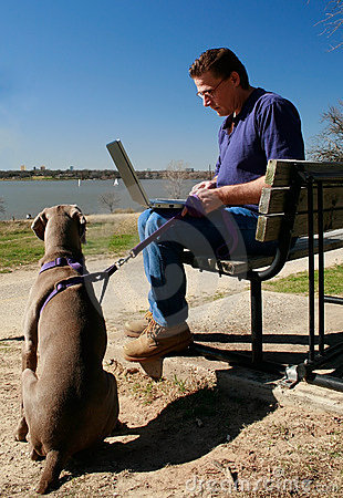 Patience - Dog waits for man working on laptop