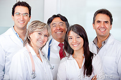 Patient with a group of doctors