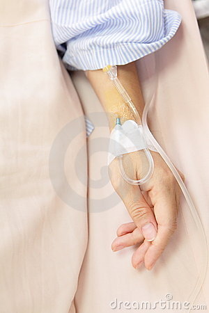 Patient hand with an intravenous drip