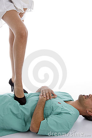 Patient keeping leg on doctor s chest
