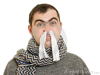 A patient man with a runny nose
